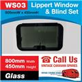 Caravan RV Glass Window & Blind Tinted 800 mm  x 450 mm Push Out WS03
