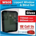 Caravan RV Glass Window & Blind Tinted 700 mm  x 900 mm Push Out WS05