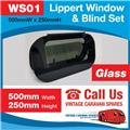 Caravan RV Glass Window & Blind Tinted 500 mm  x 250 mm Push Out WS01
