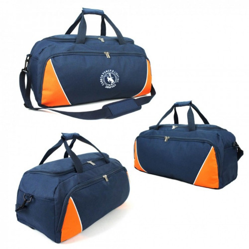 G1336-sports travel bag, navy,orange,white grace collection,